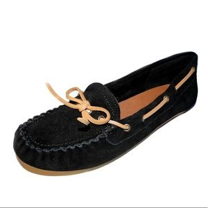 Lucky Brand Black Leather Suede Moccasin